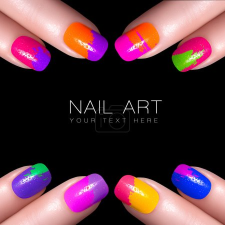 Colorful Fluor Nail Polish. Art Nail