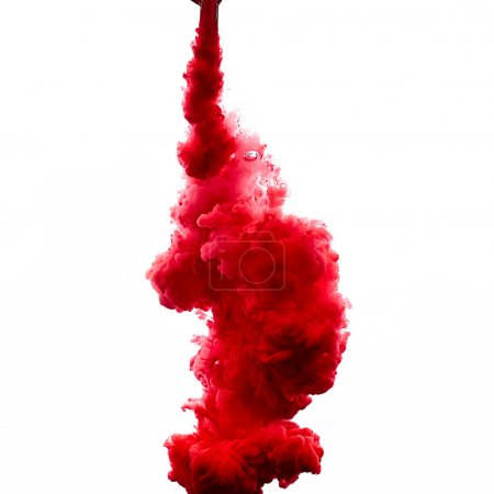 Red Acrylic Ink in Water. Color Explosion