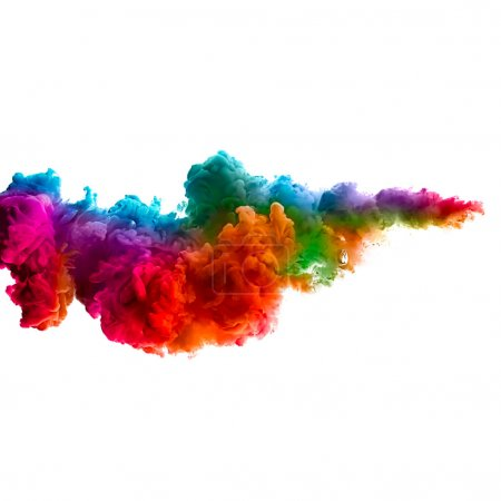 Foto de Colorful ink in water isolated on white background. Rainbow of colors - Imagen libre de derechos