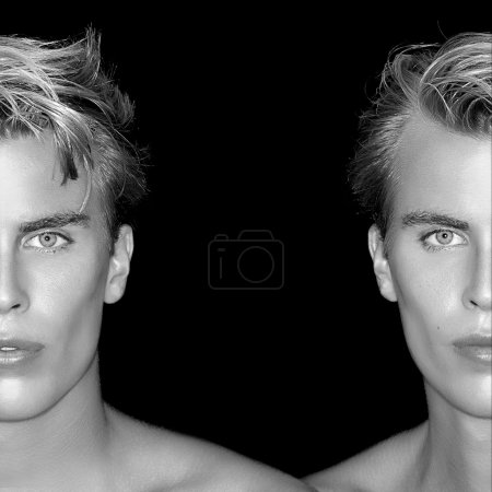 Twins. Two Half Faces of Blond men on Black Background