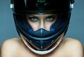 """Постер, картина, фотообои """"сексуальная женщина в шлеме на синем фоне"""""""