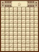 Illustration of 99 names of Allah in Arabic