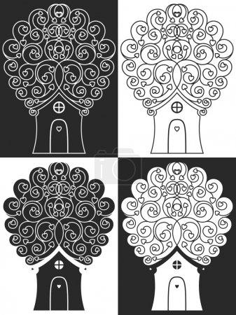 house tree hearts