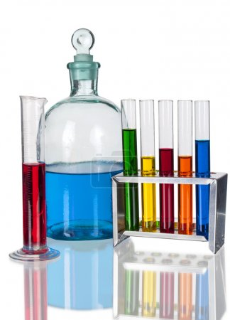 Assorted laboratory glassware equipment with color liquids