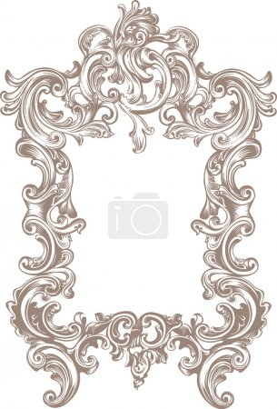 Illustration for Baroque frame on white background - Royalty Free Image