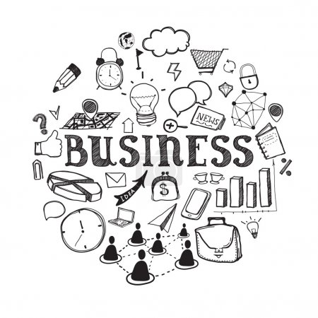 Illustration for Business icons in sketch style on white background - Royalty Free Image