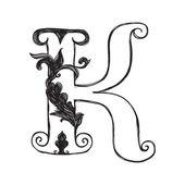 The vintage style letter K