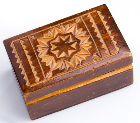 Close up of vintage wooden casket...