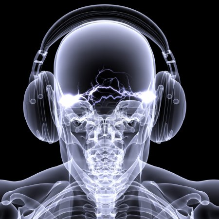 Photo for Skeleton X-ray DJ: An X-ray of a male skeleton DJ wearing headphones with electric activity in his head. Isolated on a black background - Royalty Free Image