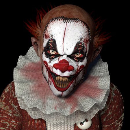 Scarier Clown 1: A scarier clown with sharp pointy...