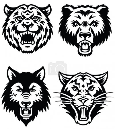 Illustration for Animal Mascot Vector Logo Set - Royalty Free Image