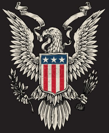 Illustration for American Eagle Linework Vector - Royalty Free Image