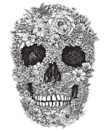 Illustration for Flower Skull Linework Vector - Royalty Free Image