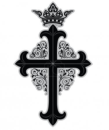Illustration for Cross with crown and ornate boarder - Royalty Free Image