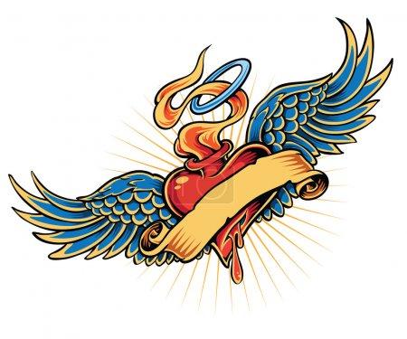 Illustration pour Illustration de tatouage de coeur flamboyant - image libre de droit