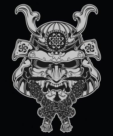 Samurai mask illustration