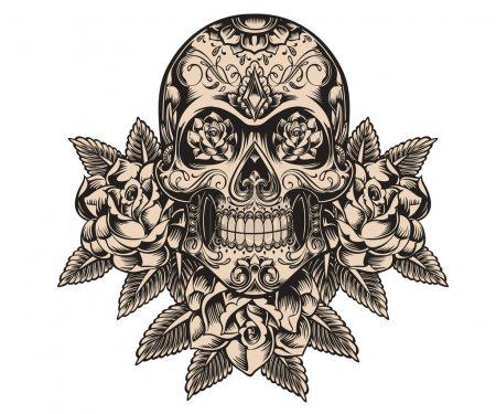 Illustration for Skull and roses sketch vector - Royalty Free Image
