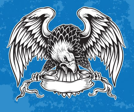 Illustration for Hand Inked Eagle Holding Scroll Vector - Royalty Free Image