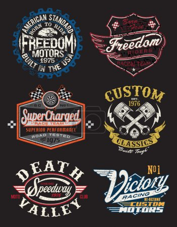 Illustration for A Collection of Vintage Motorcycle Themed Badge Vectors - Royalty Free Image
