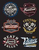 A Collection of Vintage Motorcycle Themed Badge Vectors