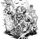 Zombie Comic Vector Illustration Line Art...
