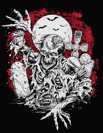 Zombie Rising From Grave Vector Illustration...