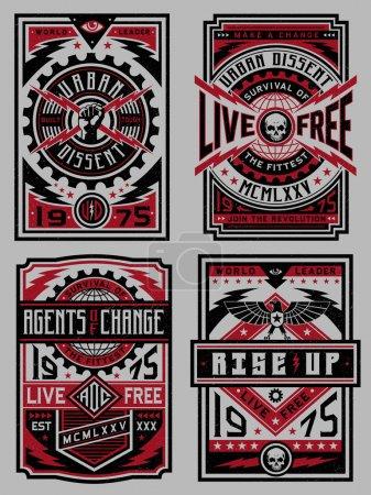 Illustration pour Conception de l'affiche propagana propagana poster design set - image libre de droit