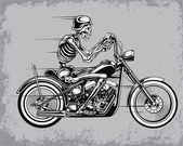 Skeleton Riding Motorcycle Vector Illustration