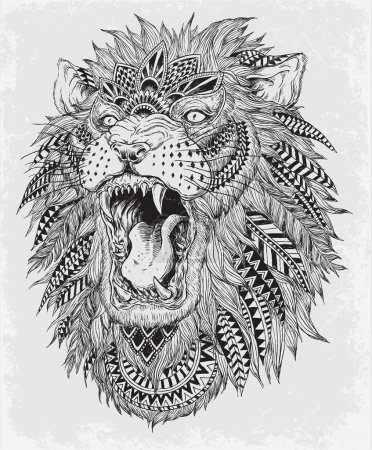 Illustration for Hand Drawn Abstract Lion Vector Illustration Hand Drawn Abstract Lion Vector Illustration - Royalty Free Image