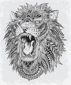 Abstraktní Lev ručně kreslenou vektorové ilustrace