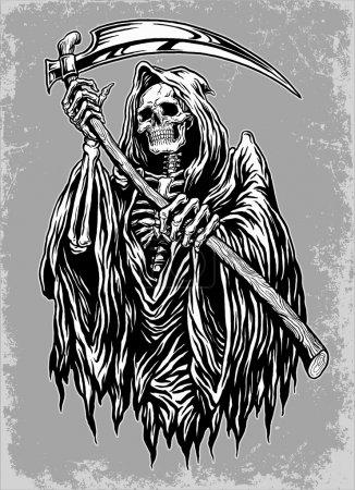 Illustration for Hand Inked Grim Reaper Illustration Hand Inked Grim Reaper Illustration - Royalty Free Image