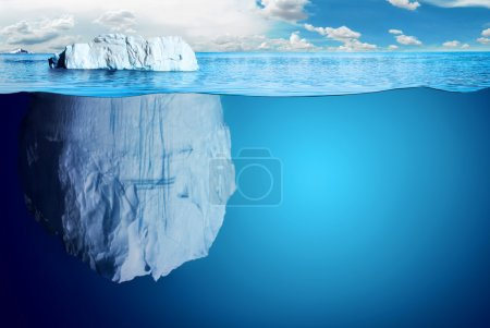 Photo for Underwater view of iceberg with beautiful polar sea on background - illustration. - Royalty Free Image