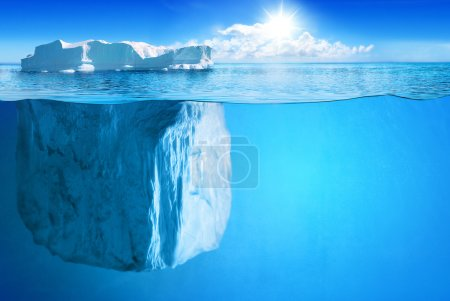 Photo for Underwater view of big iceberg with beautiful polar sea on background - illustration. - Royalty Free Image