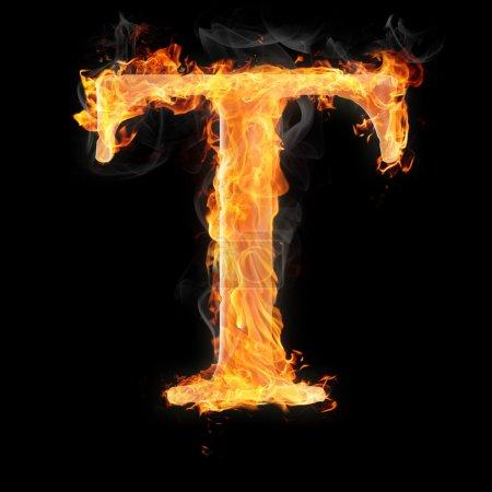 Photo pour Lettres et symboles en feu - lettre t. - image libre de droit