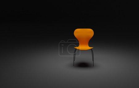 Photo pour 3d rendu de chaise vide solitaire dans une pièce sombre - image libre de droit