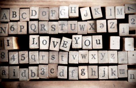 """Wood cube make message """"i love you"""""""