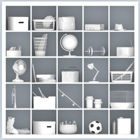 Photo for White drawers and shelves with different home related objects - Royalty Free Image