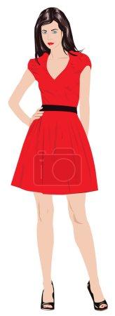 Illustration pour Fille aux cheveux bruns en robe rouge - image libre de droit