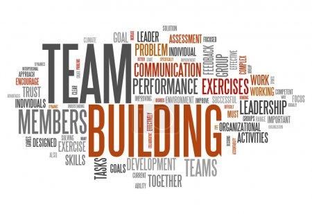 Photo pour Nuage de mot avec le team-building tags associés - image libre de droit
