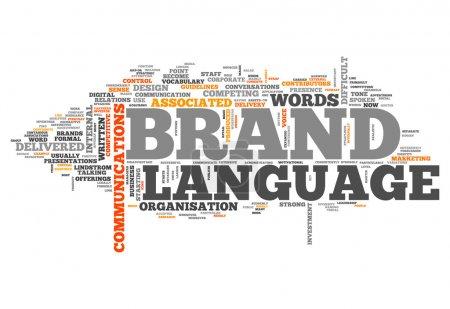 Photo pour Nuage de mot avec le langage de la marque associés tags - image libre de droit