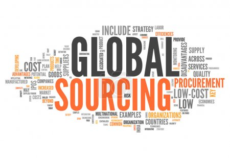 Photo for Word Cloud with Global Sourcing related tags - Royalty Free Image