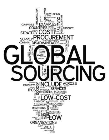 Photo pour Cloud Word avec des balises liées à l'approvisionnement mondial - image libre de droit