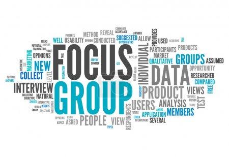 Photo pour Word Cloud avec des tags associés à Focus Group - image libre de droit