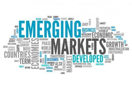 Photo pour Cloud Word avec des étiquettes liées aux marchés émergents - image libre de droit
