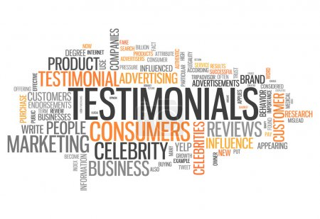 Word Cloud with Testimonials related tags...