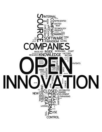 Photo pour Word Cloud avec des balises liées à l'innovation ouverte - image libre de droit