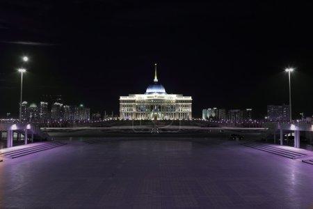 Symbols of Kazakhstan Ak Orda Palace at night