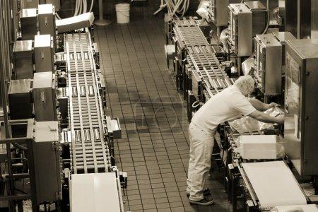 Photo pour Ligne de production d'usine dans la fromagerie Oregon - image libre de droit
