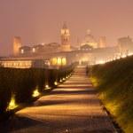 Nighttime panorama of historical Mantova, Nothern ...