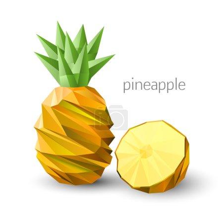 Polygonal fruit - pineapple. Vector illustration